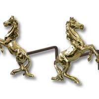 RAMPANT HORSE BRASS COUPLE OF FIREDOGS FOR FIREPLACES