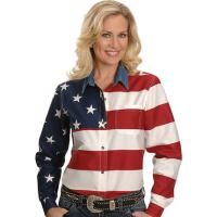 WOMENᄡS ROPER AMERICAN FLAG SHIRT, from USA