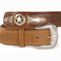 JUSTIN WESTERN LEATHER BELT mod. TEXAS STAR