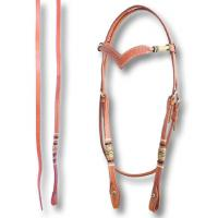 WESTERN BRIDLE WITH BASKET PATTERN AND RAWHIDE BROWBAND