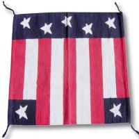 WESTERN NAVAJO FABRIC RUG U.S.A. FLAG 32 X 32