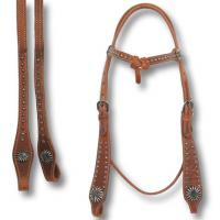 POOL'S WESTERN BRIDLE WITH ANTIQUE ROSE SPOTS
