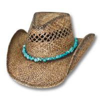 WESTERN HAT BEIGE STRAW PERFORATED