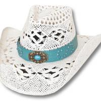 PERFORATED WESTERN STRAW WHITE HAT WITH BAND