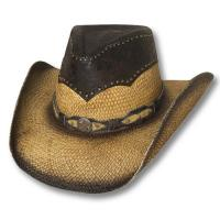 WESTERN HAT STRAW and LEATHER MADE IN MEXICO