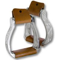 WESTERN ALUMINIUM STIRRUPS LEATHER COVERED AND DECORATION