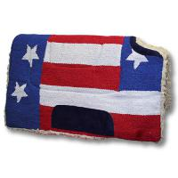 WESTERN SADDLE PAD WITH FABRIC FLAG U.S.A. AND OPEN WITHER