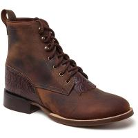 WESTERN UNISEX LOW ANKLE BOOTS WITH LACES